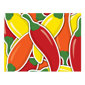 Funky mixed chilli peppers postcard