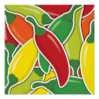 Funky mixed chilli peppers poster