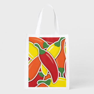 Funky mixed chilli peppers reusable grocery bag