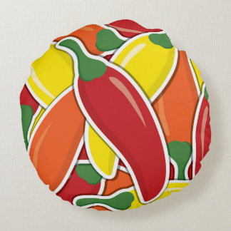 Funky mixed chilli peppers round cushion