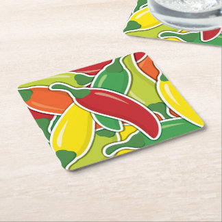 Funky mixed chilli peppers square paper coaster