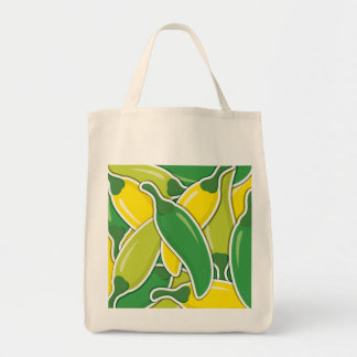 Funky mixed chilli peppers tote bag
