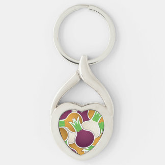 Funky mixed onions Silver-Colored twisted heart key ring
