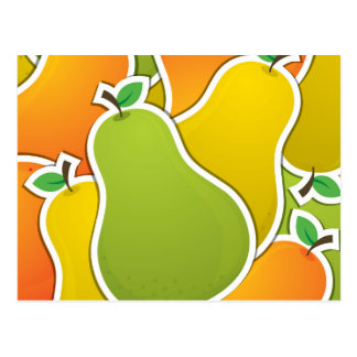 Funky mixed pear postcard