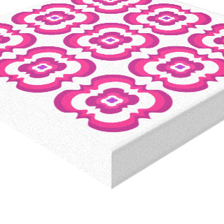 Funky Modern Bright Flowery Pink Purple White Gallery Wrap Canvas