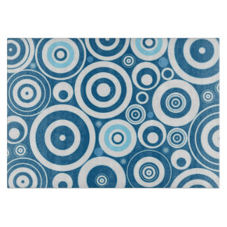 Funky Modern Retro Blue White Circles Pattern Cutting Board