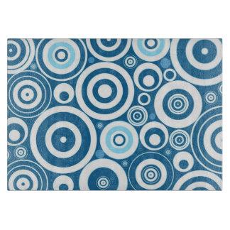 Funky Modern Retro Blue White Circles Pattern Cutting Board
