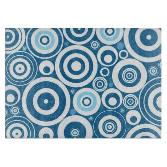 Funky Modern Retro Blue White Circles Pattern Cutting
