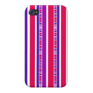 Funky Modern Stripes in Hot Pink and Purple Case For The iPhone 4