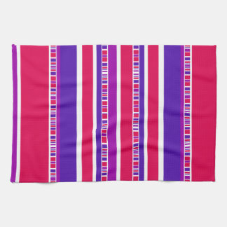 Funky Modern Stripes in Hot Pink and Purple Tea Towel