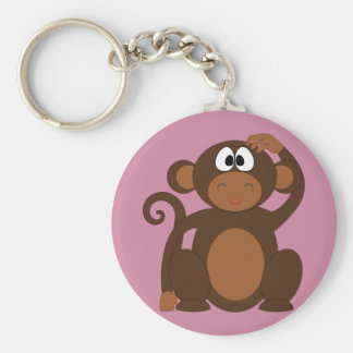 Funky Monkey Basic Round Button Key Ring