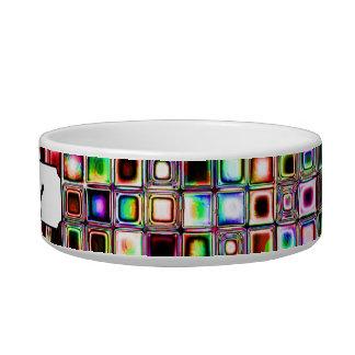 Funky Mosaic Tiles Pattern With Jewel Tones Pet Bowl