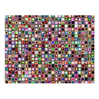 Funky Mosaic Tiles Pattern With Jewel Tones Postcard