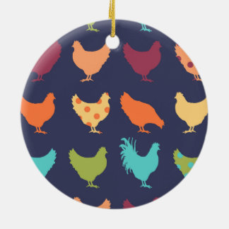 Funky Multi-colored Chicken Pattern Christmas Ornament