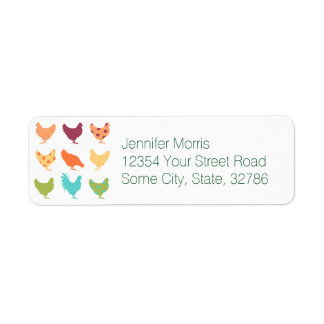 Funky Multi-colored Chicken Pattern Return Address Label