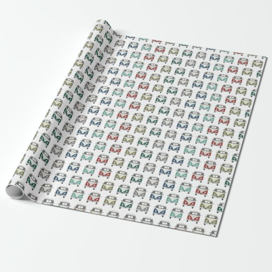 funky, multi coloured vintage bus wrapping paper