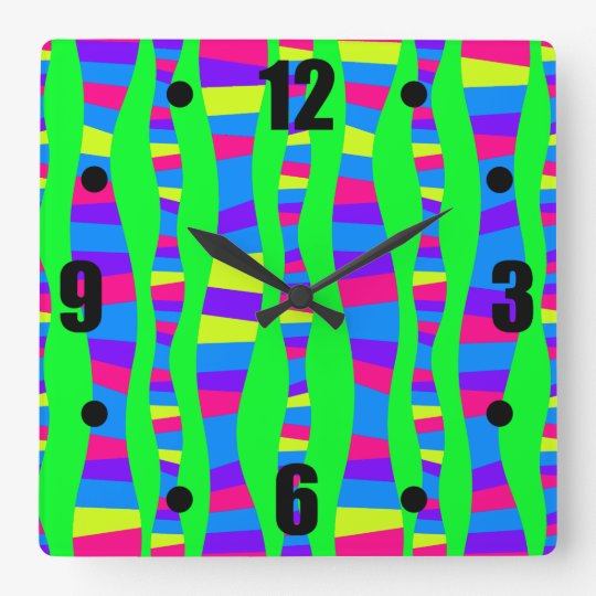 Funky Neon Colours Retro Modern Pattern Square Wall