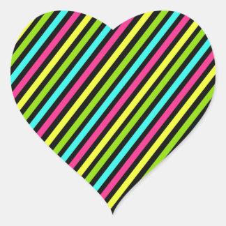 Funky Neon Diagonal Stripes Pattern Heart Sticker