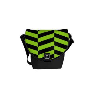 Funky Neon Green and Black Zig Zags Chevron Messenger Bag