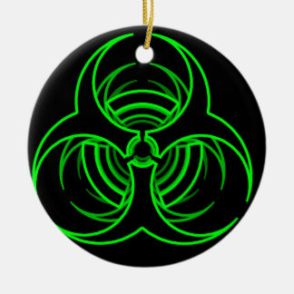 Funky neon green bio hazard symbol round ceramic decoration