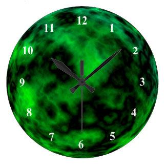 Funky Neon Green Emerald Halloween Abstract Large Clock