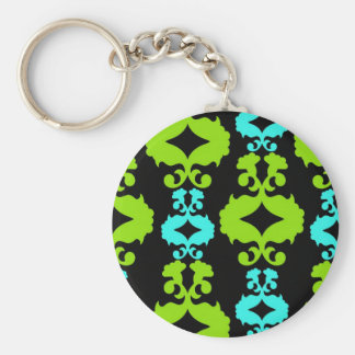 Funky Neon Green Turquoise Teal Damask Pattern Basic Round Button Key Ring