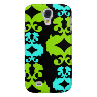 Funky Neon Green Turquoise Teal Damask Pattern Samsung Galaxy S4 Cover