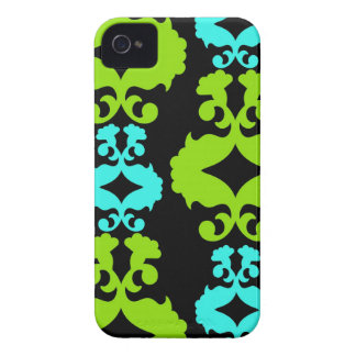 Funky Neon Green Turquoise Teal Damask Pattern Case-Mate iPhone 4 Case