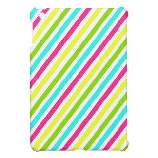 Funky Neon Pink Blue Green Yellow Stripes iPad Mini Cases