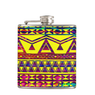 Funky Neon Trendy Aztec Pattern Hip Flask