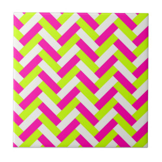Funky Neon Weaved Zigzag Chevron Andes Small Square Tile