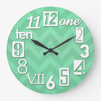 Funky Numbra Mint Green Chevron Large Clock