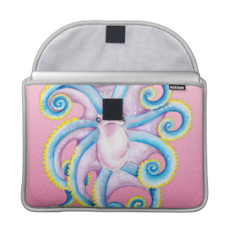 Funky Octopus On Pink Sleeve For MacBooks