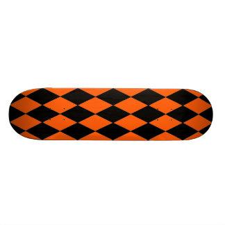 Funky Orange and Black Diamond Harlequin Pattern Skate Decks