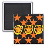 Funky Orange and Black Stars Swirls Pattern Magnets