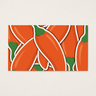 Funky orange chilli peppers business card