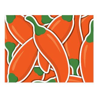 Funky orange chilli peppers postcard