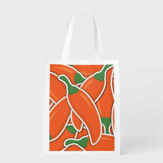Funky orange chilli peppers reusable grocery bag