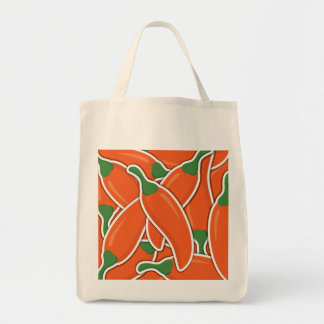 Funky orange chilli peppers tote bag