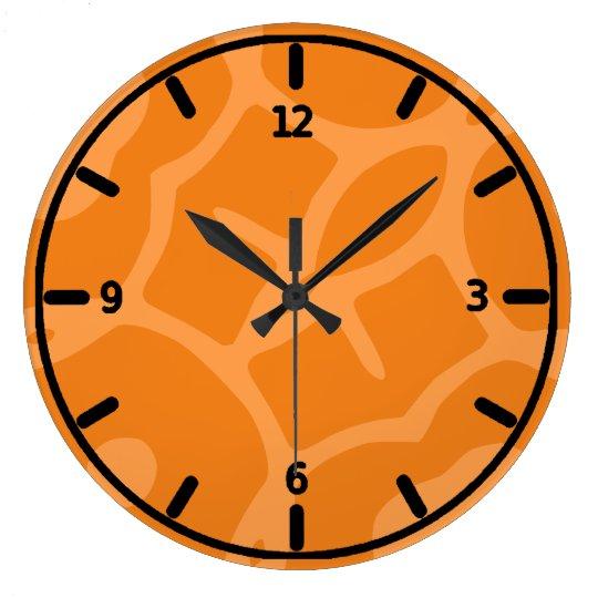 Funky Orange Clock Zazzle Co Uk