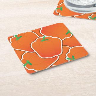Funky orange pepper square paper coaster