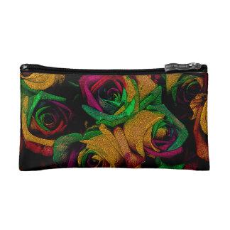 Funky Orange, Red & Green  Roses Cosmetic Bag