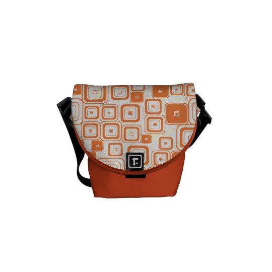Funky Orange Retro Squares Messenger Bag
