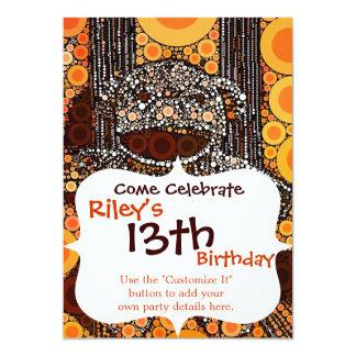 Funky Orange Sock Monkey Circles Bubbles Pop Art 13 Cm X 18 Cm Invitation Card