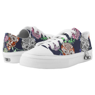 Funky Ornate Sugar Skulls Design Low Tops