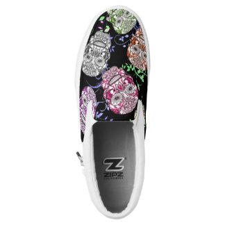 Funky Ornate Sugar Skulls Design Slip-On Shoes