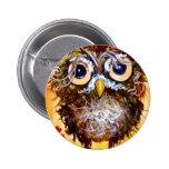 Funky owl girl 6 cm round badge
