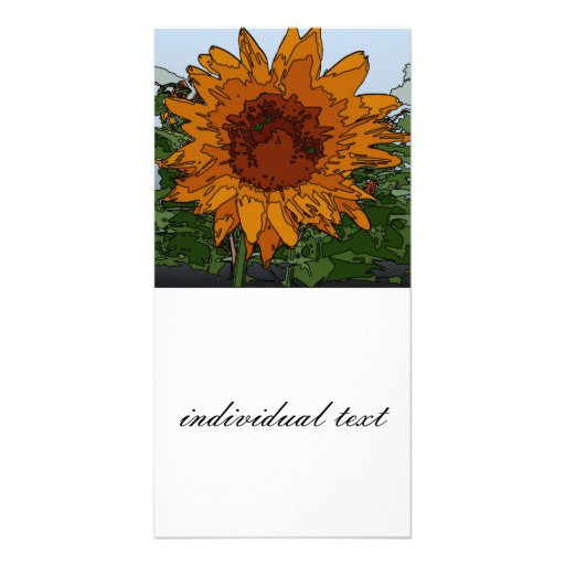 funky painting sunflower customized photo card