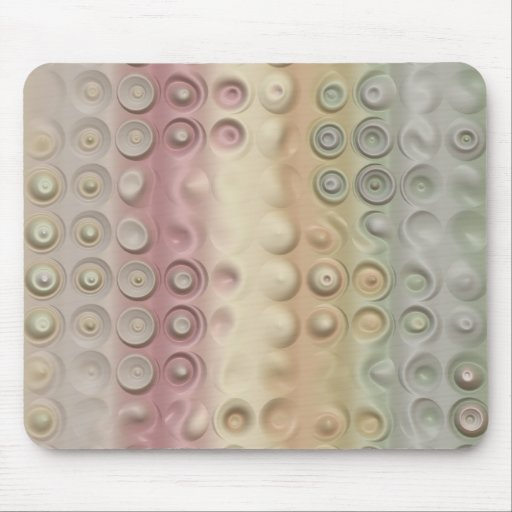 Funky Pastel Creamy Circles and Stripes Mouse Pad