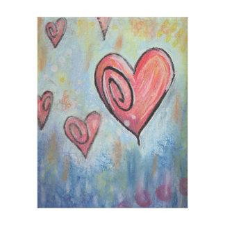 Funky Pastel Hearts Gallery Wrap Canvas